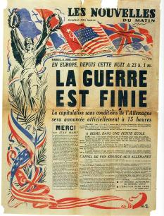 "Front cover of French daily newspaper: ""Les Nouvelles du Matin""- The War is Over"